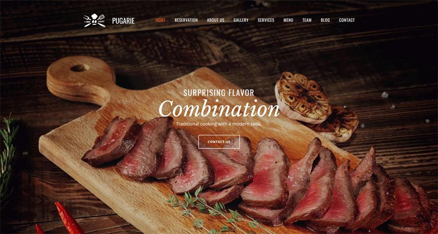 Restaurant website builder themes