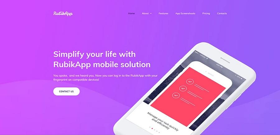 RubikApp Mobile App Premium Moto CMS 3 Template