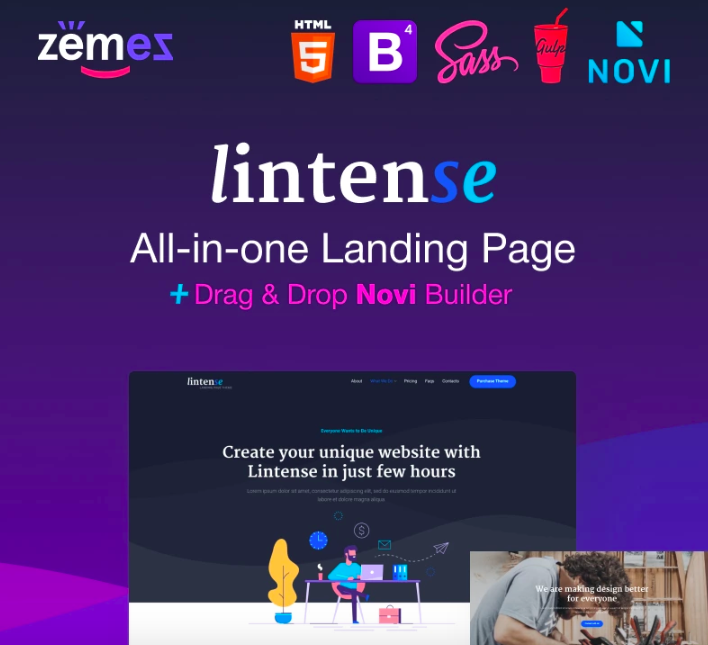 Linton - One Landing Page Template in All