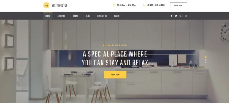 hostel website theme