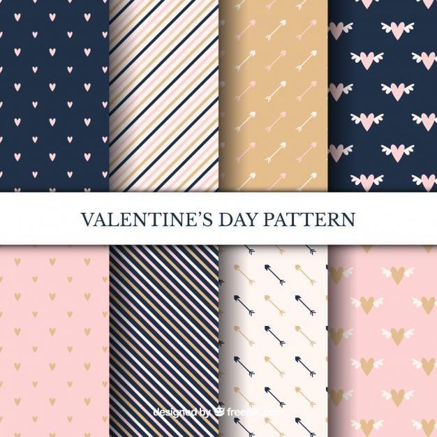 Valentine's Day Freepik pattern set