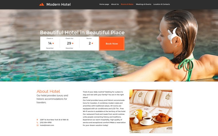 modern hotel website theme