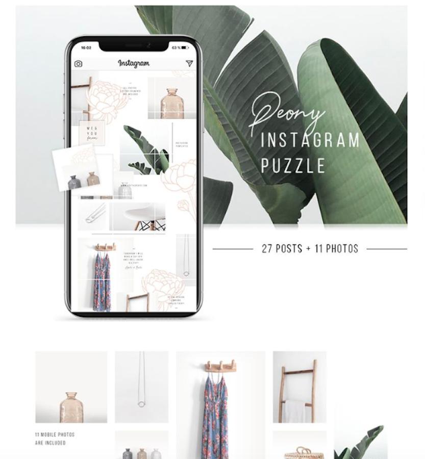 Peony Instagram Puzzle + 11 Photos Social Media