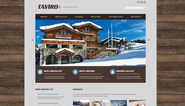 taviro sky hotel website theme