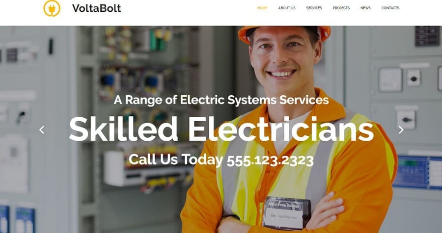 Lighting & Electricity Responsive Moto CMS 3 Template