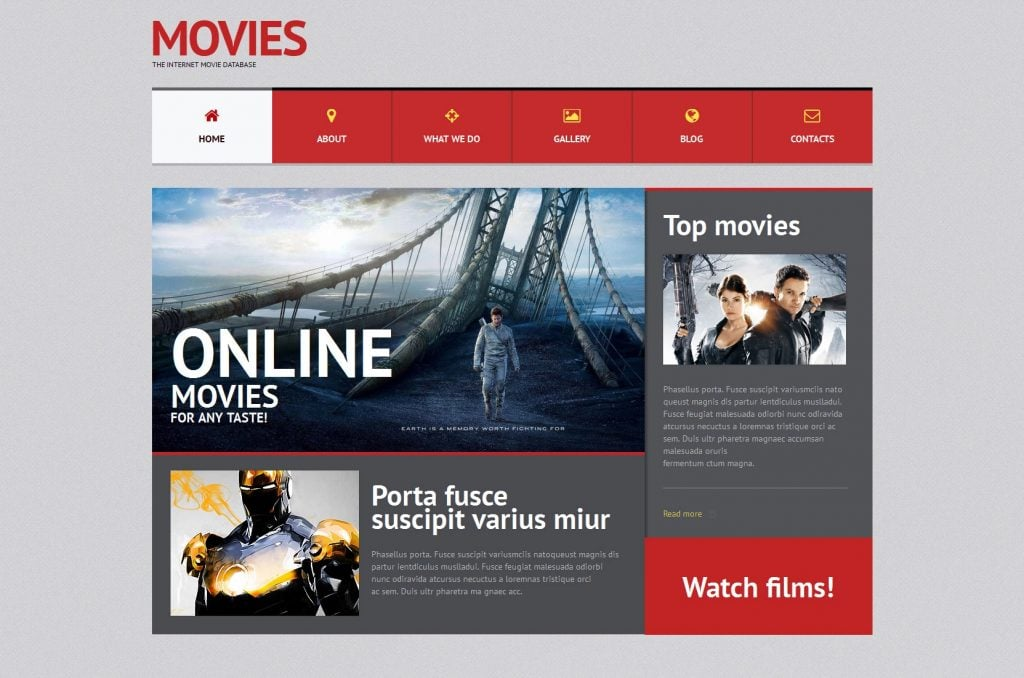 WordPress movie templates