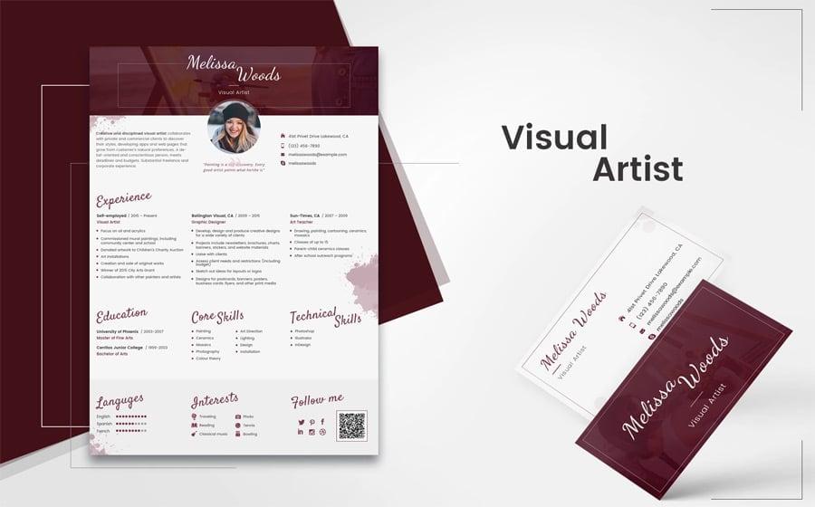 Artist Resume Template from www.templatemonster.com
