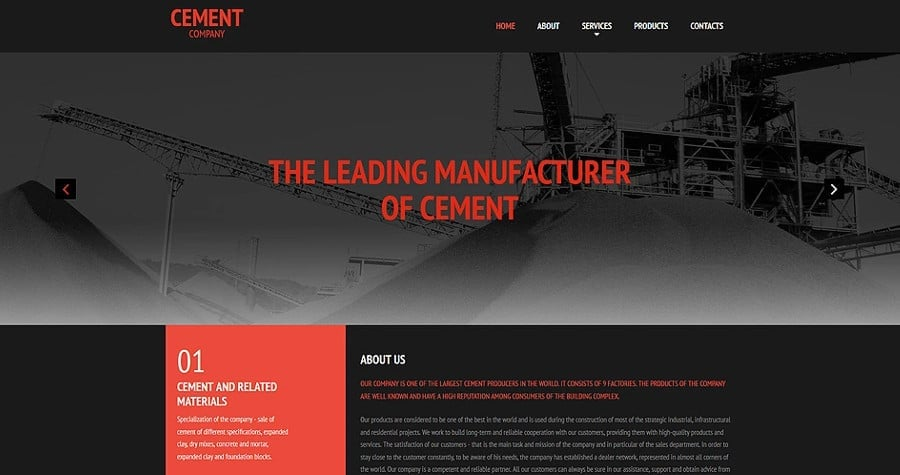 Cement Responsive Moto CMS 3 Template