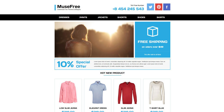 Adobe Muse Online Store.