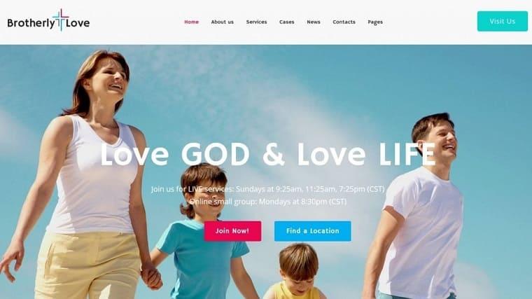 BrotherlyLove - Modern Church WordPress theme.