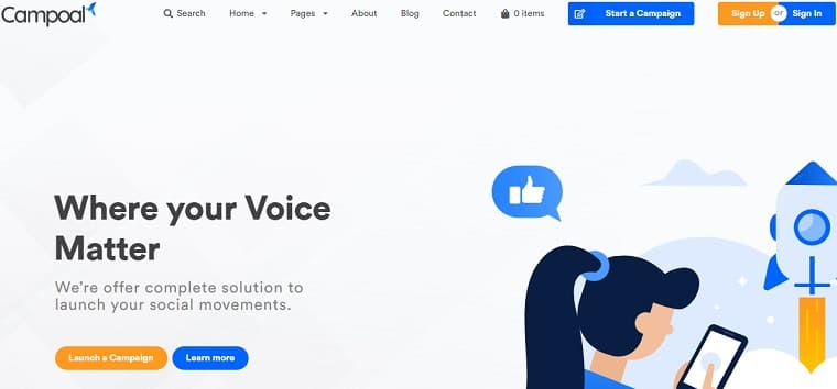Campoal - Petition Platform & Fundraising WordPress Theme.