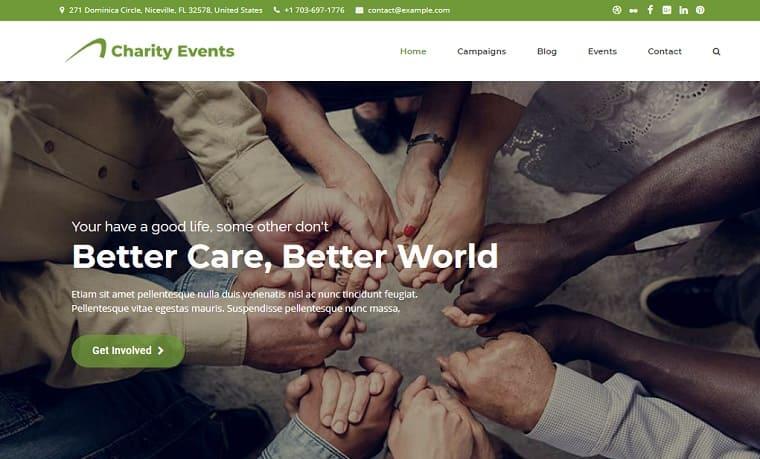 Charity Events - Modern Charity / Fundraising WordPress Theme.
