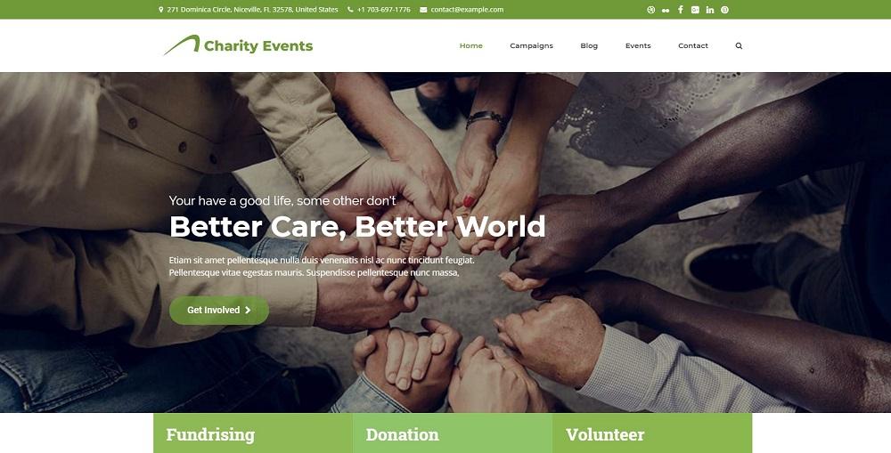 Charity Events - Modern Charity / Fundraising WordPress Theme