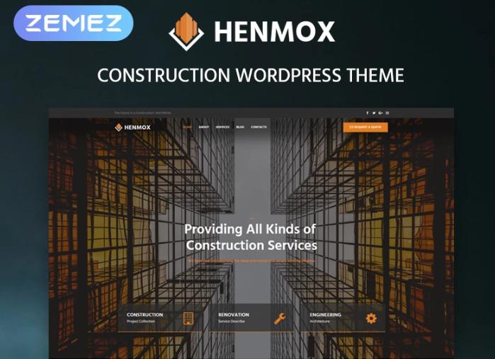 Henmox- Construction Multipurpose ModernElementorWordPress Theme