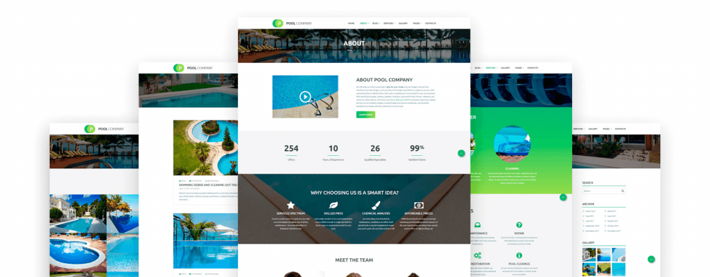 Pool Company Bootstrap Theme Website Template