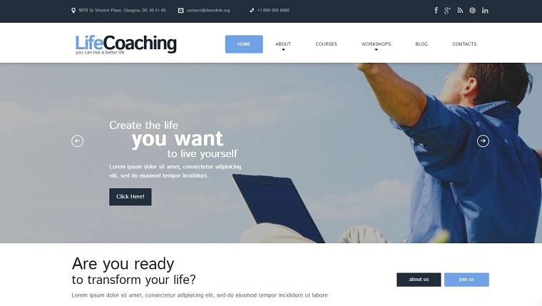 Life Coach Responsive WordPress Theme.