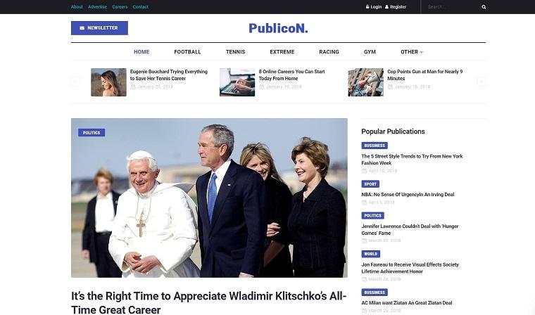 Publicon - News Portal Elementor WordPress Theme.