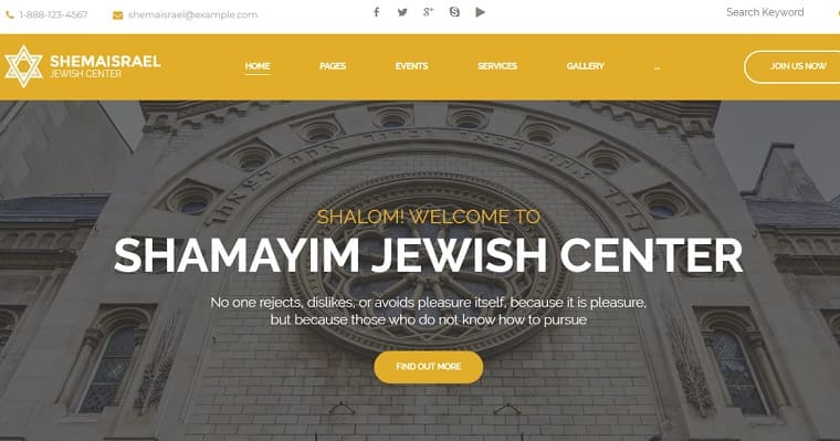 Shema Israel - Jewish Cultural and Religious Center WordPress Theme.
