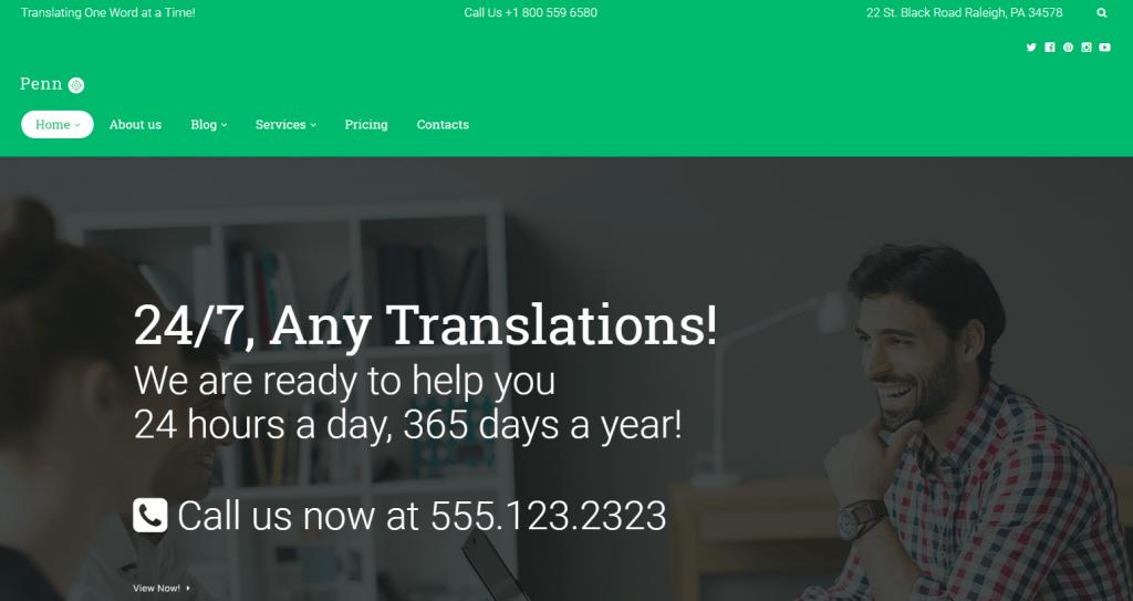 Penn - Translation Agency WordPress Theme