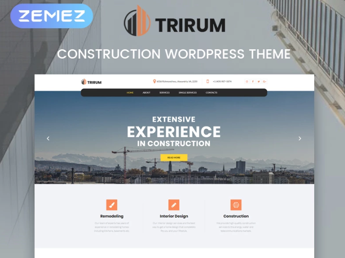 Trirum- Construction Multipurpose ModernElementorWordPress Theme