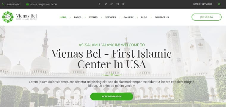 VienasBel - Islamic Religious & Cultural Center WordPress Theme.