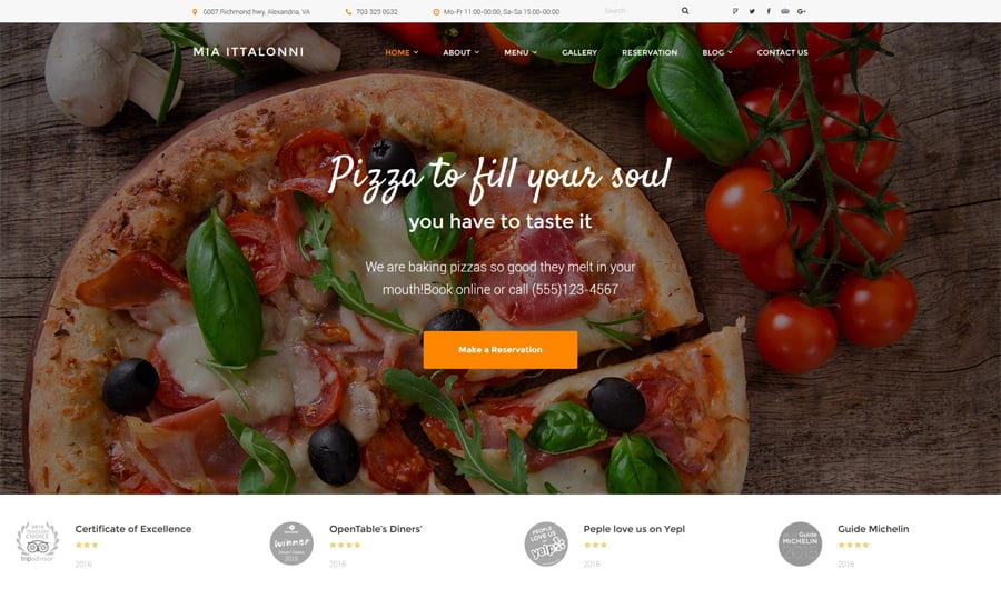 Free WordPress Restaurant Theme