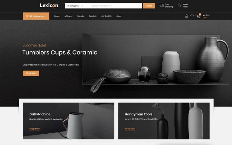 Lexicon - kitchen Accessories Store OpenCart Template.