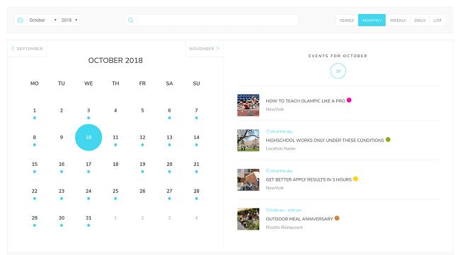 Modern Events Calendar Month View