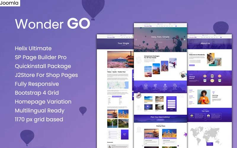 Wonder GO - Tour Booking and Travel Joomla Template