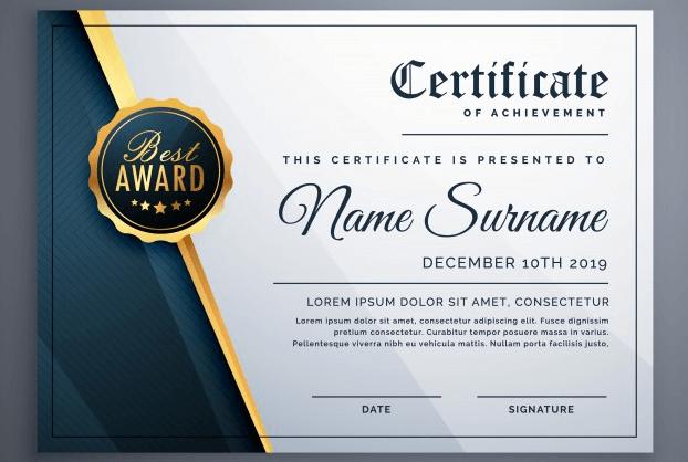 Black luxury certificate
