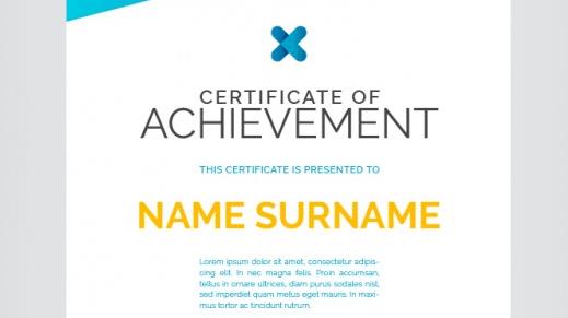 Certificate of achievement, full color