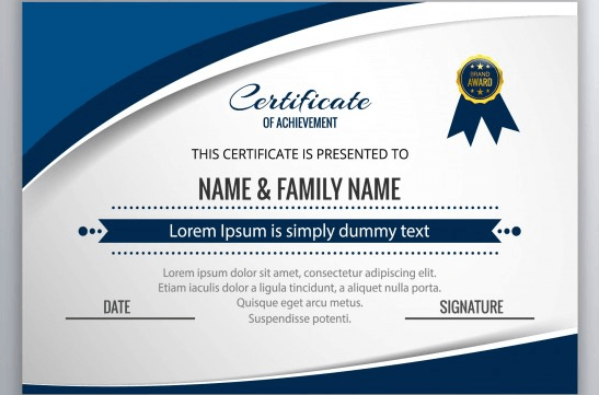 Certificate with blue circular shapes