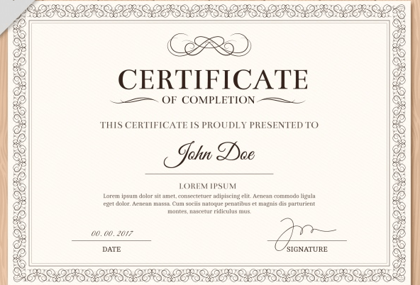 Diploma with a classic frame