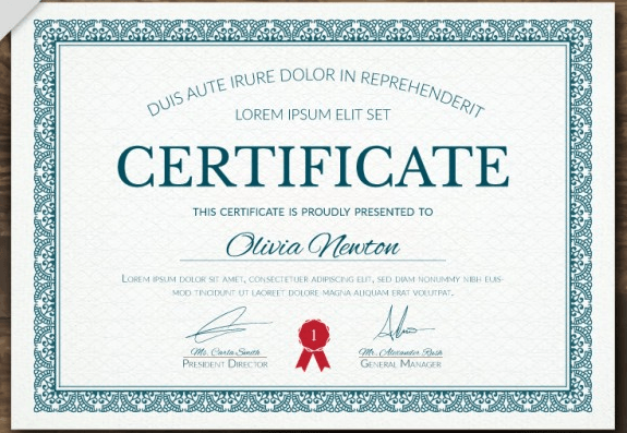 Elegant diploma with an ornamental frame