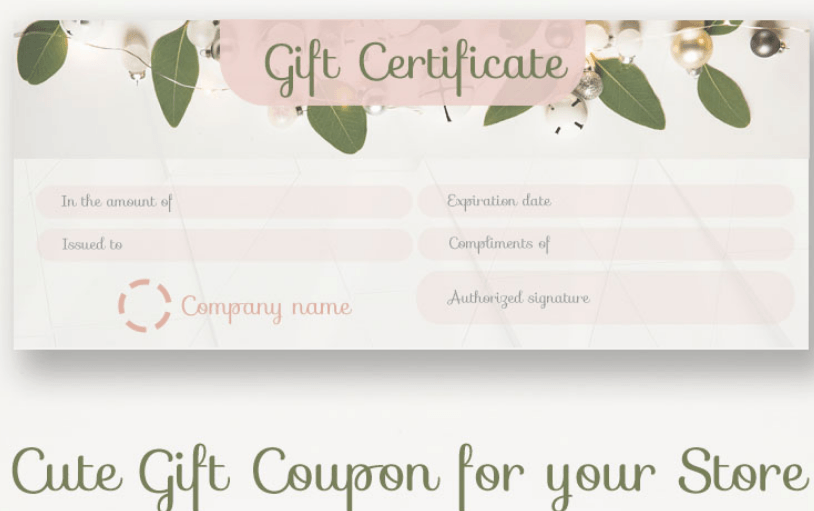 Gift Coupon Certificate Template