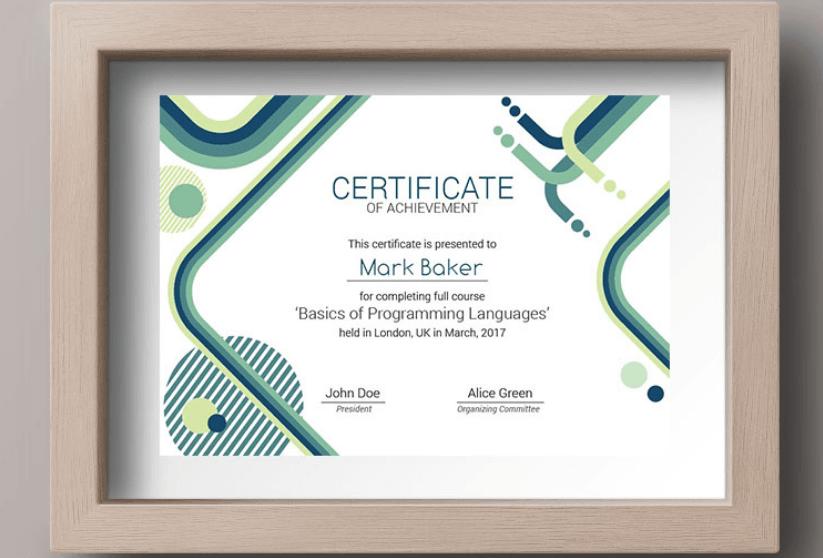 IT Courses Certificate Template