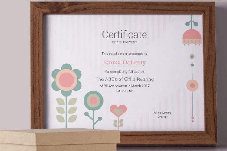 Kids & Flowers Certificate Template