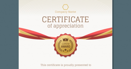 Luxury certificate with gold and red details