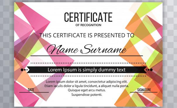 Modern, colorful certificate template design