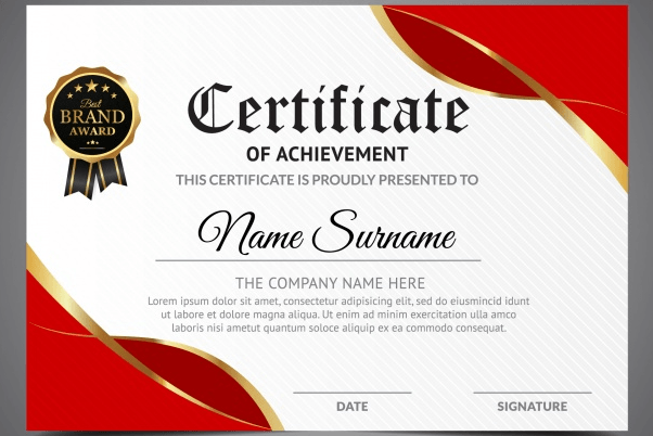 Red and white certificate of achievement