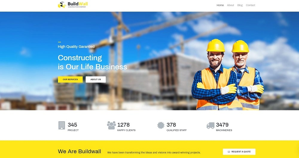 BuildWall Lite - Construction Company Elementor WordPress Theme