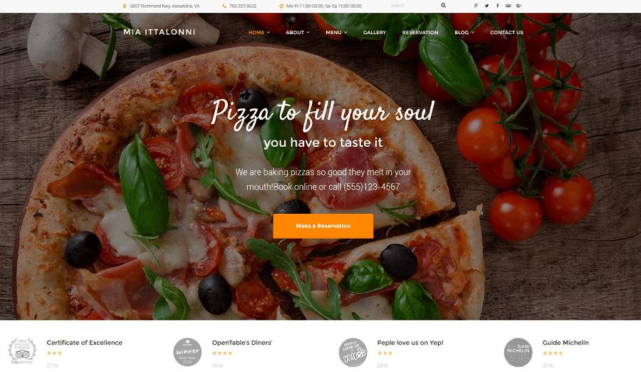 Mia Ittalloni – Free WordPress Italian Restaurant Theme