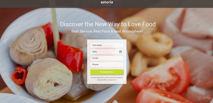 Astoria – Free Restaurant HTML5 Landing Page Template