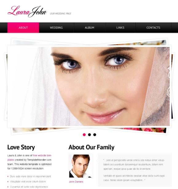 Laura John- Free HTML Template for Wedding Website