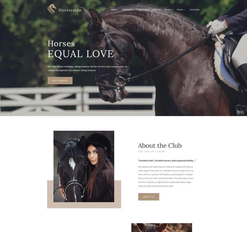 Horsieside — Equestrian Center Responsive WordPress Theme
