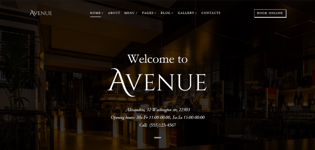 Avenue Restaurant Responsive Multipage HTML Website Template