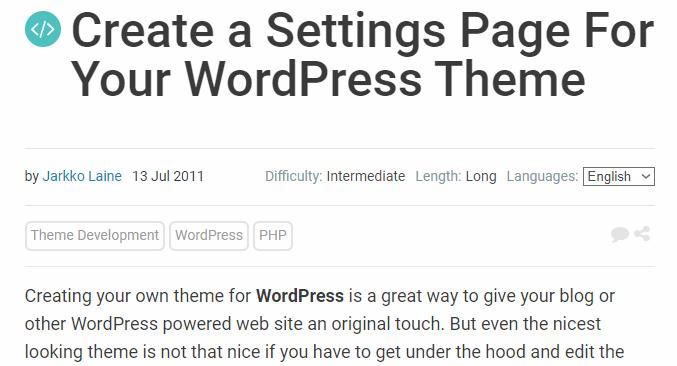 Create a Settings Page