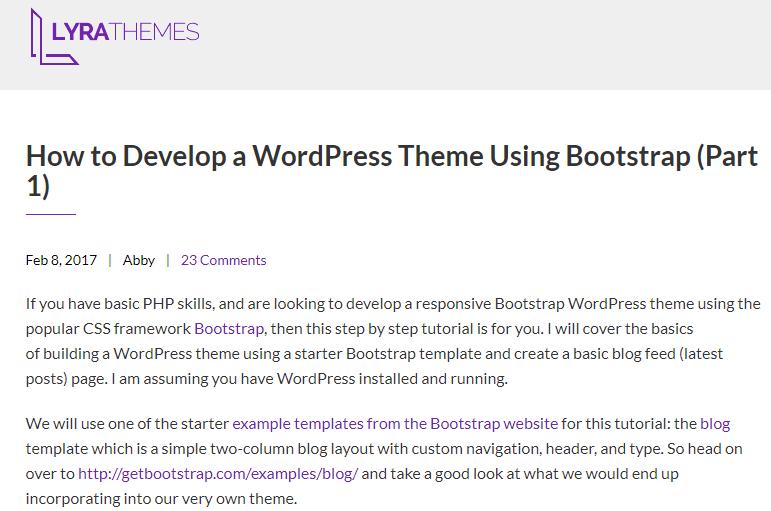 Develop a WordPress Theme