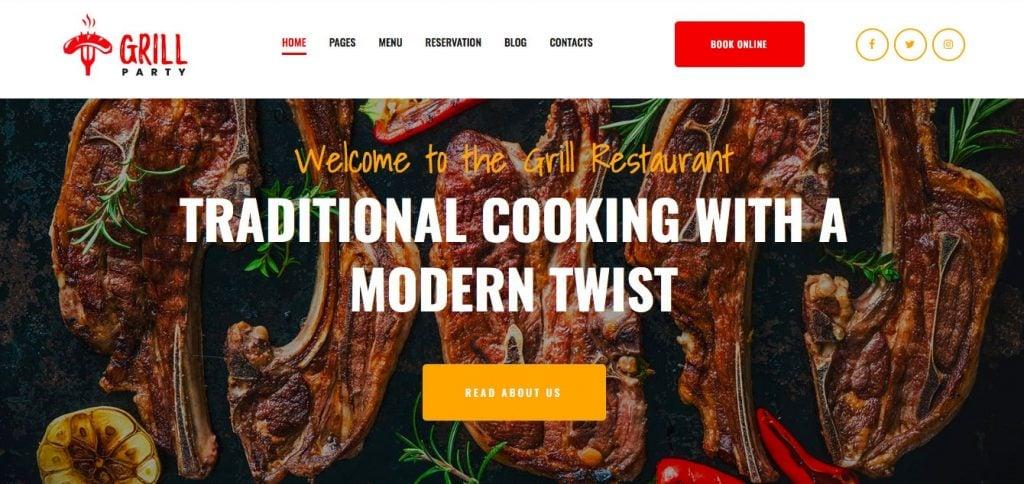 Grill Restaurant Premium Moto CMS-3 Template