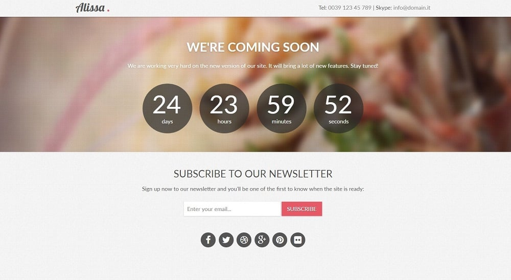 Free Template Alissa: Responsive Bootstrap Coming Soon Page